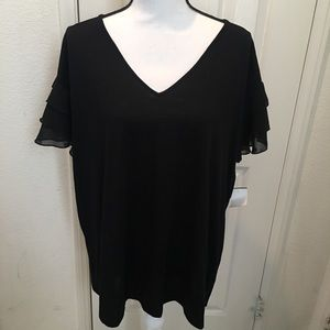 Ava and Viv Black Ruffle Sleeve Blouse!